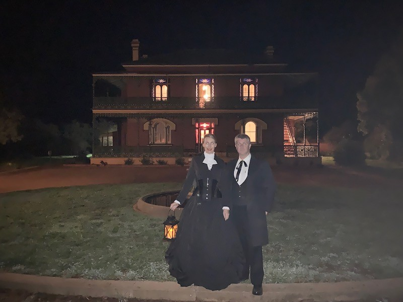 Silvia and Lawrence outside Monte Cristo, Junee looking very fitting as victorian ghosts