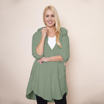 Button Sleeve Hoody Jersey Jacket (Khaki)