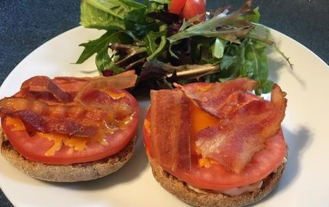 Bacon Cheese Tomato on English Muffin