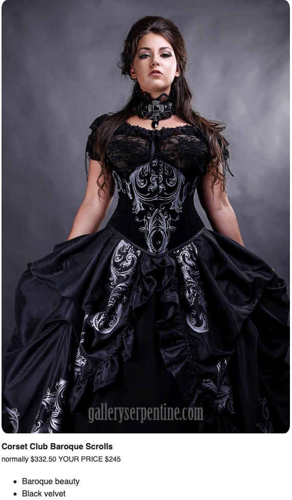 black velvet baroque scroll screen printed under bust corset and gown by Gallery Serpentine