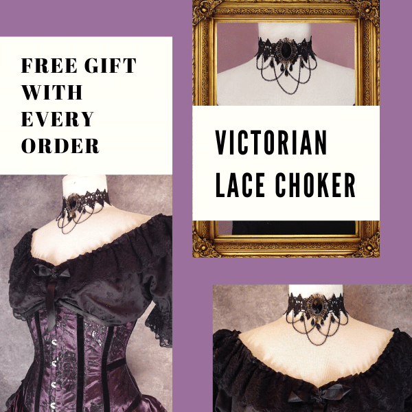 black victorian lace choker with hanging beads and chains shown on a mannequin wearing the Amethyst Beauty corset