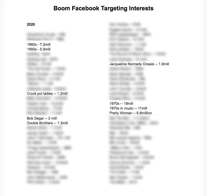 BOOM! Facebook Targeting Interests 2020