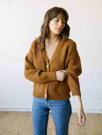 Knit Cardigan Sweater - Shelter Cardigan Burnt Sienna