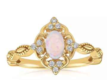 Blush & Bar Blue Carved Opal Ring in Gold