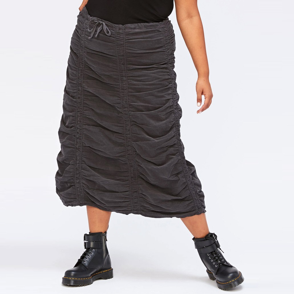 Corduroy Shirred Panel Skirt in Ore
