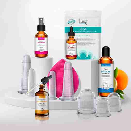 Lure Essentials Bliss face and body cupping system with rose water, rosehip oil, face oil and cellulite oil