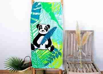 Serviette de plage imprimée en microfibre collection enfants serviettes et ponchos assortis. Motif Panda