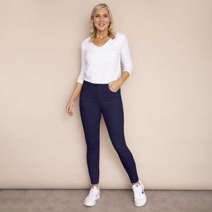 Kylie Cotton Trousers(Navy)