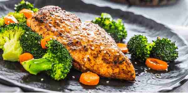 Stovetop Chicken Broccoli Carrots on Plate