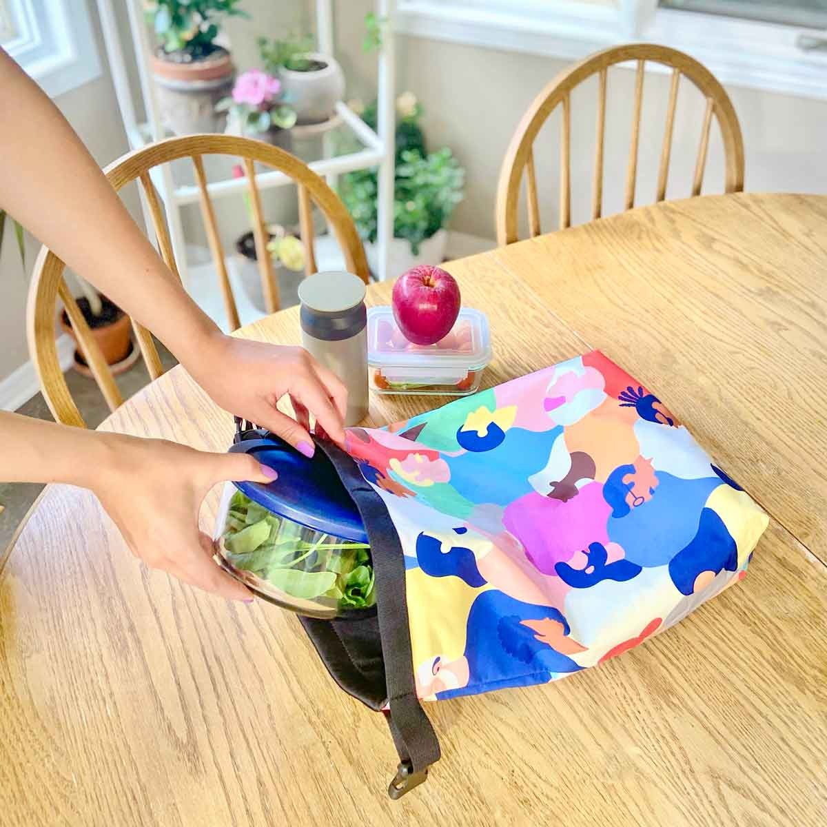 lunch bag with healthy food options