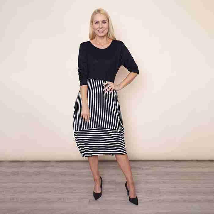 Long Sleeve Stripe Dress(Black)
