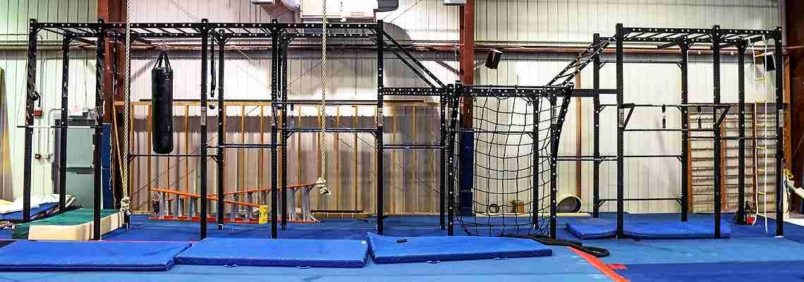 42 foot Assassin Ninja Rig - PRx Performance - Red River Valley Athletics - Gymnastics rig for ninja warrior training and weight lifting