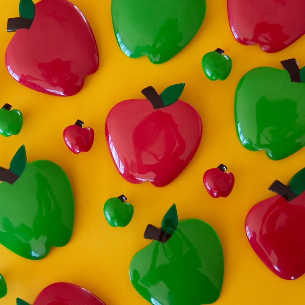 Tutti Frutti Apple Brooches