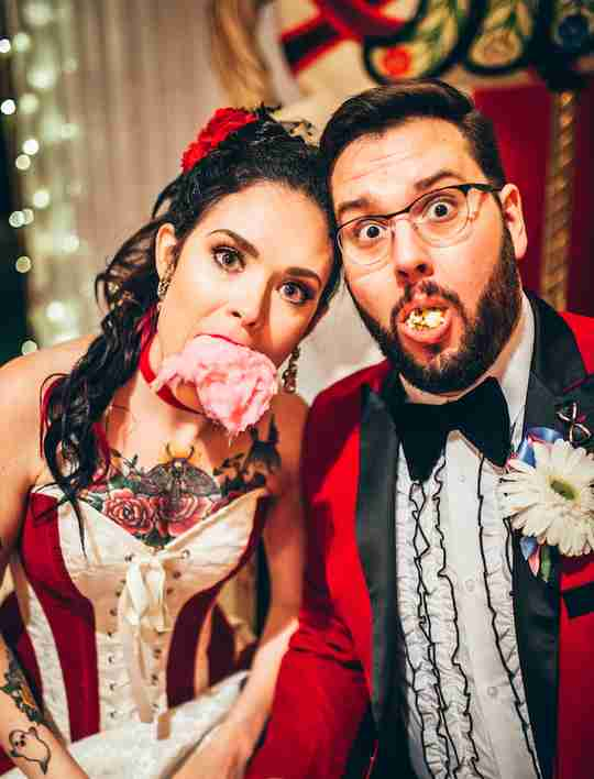 Julia & Kurtis know how to have fun, eating cotton candy and popcorn as part of their circus themed wedding food