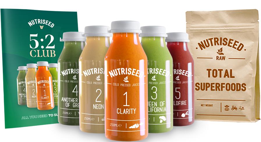 An image of Juice Cleanse 5:2 Diet - Cold Pressed Detox Diet Drinks, 100% Vegan Friendly, Pe...