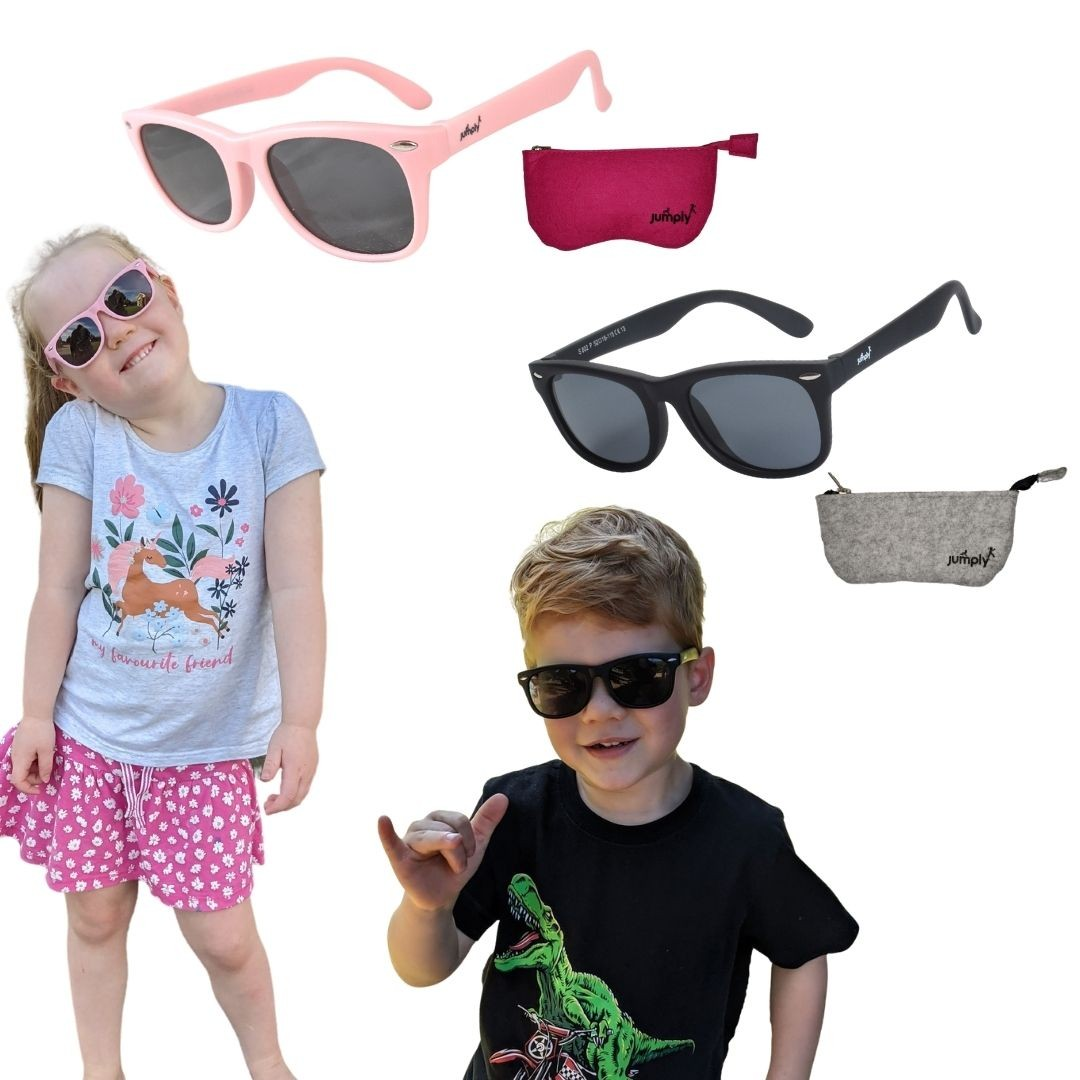 pink and black flexible sunglasses with felt case