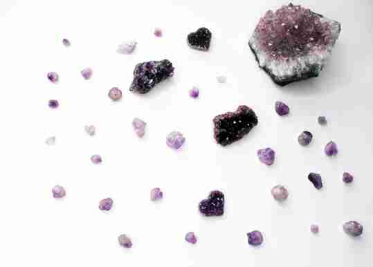 Amethyst crystals of different colors