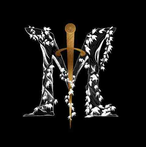 Mythologie Candles' logo, a white M covered in ivy with a golden sworn down the center