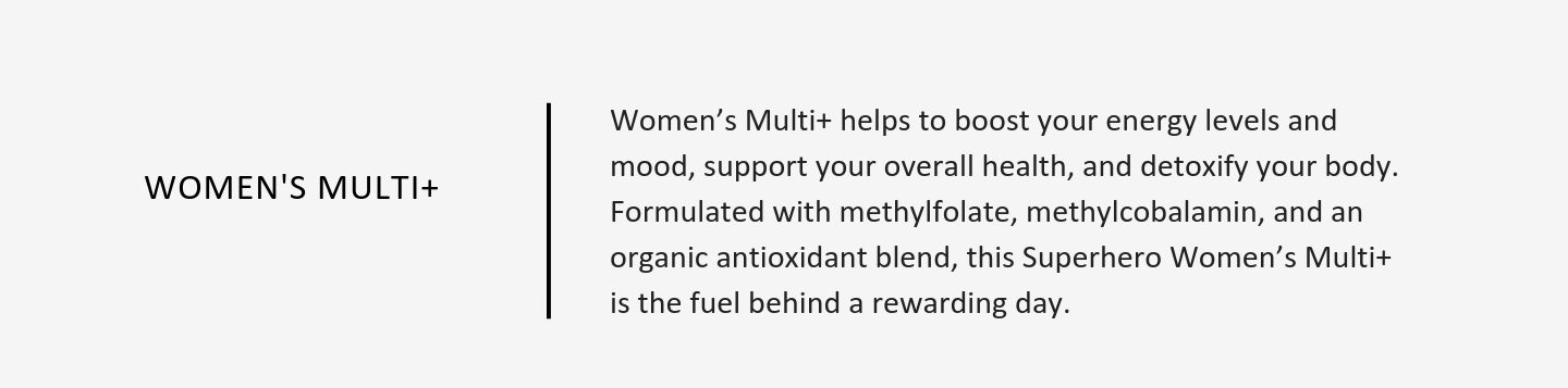 Women's Multi+ helps to boost your energy levels and mood, support your overall health, and detoxify your body.