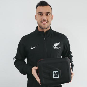 Clayton Lewis New Zealand Footballer with Massage Guns NZ case