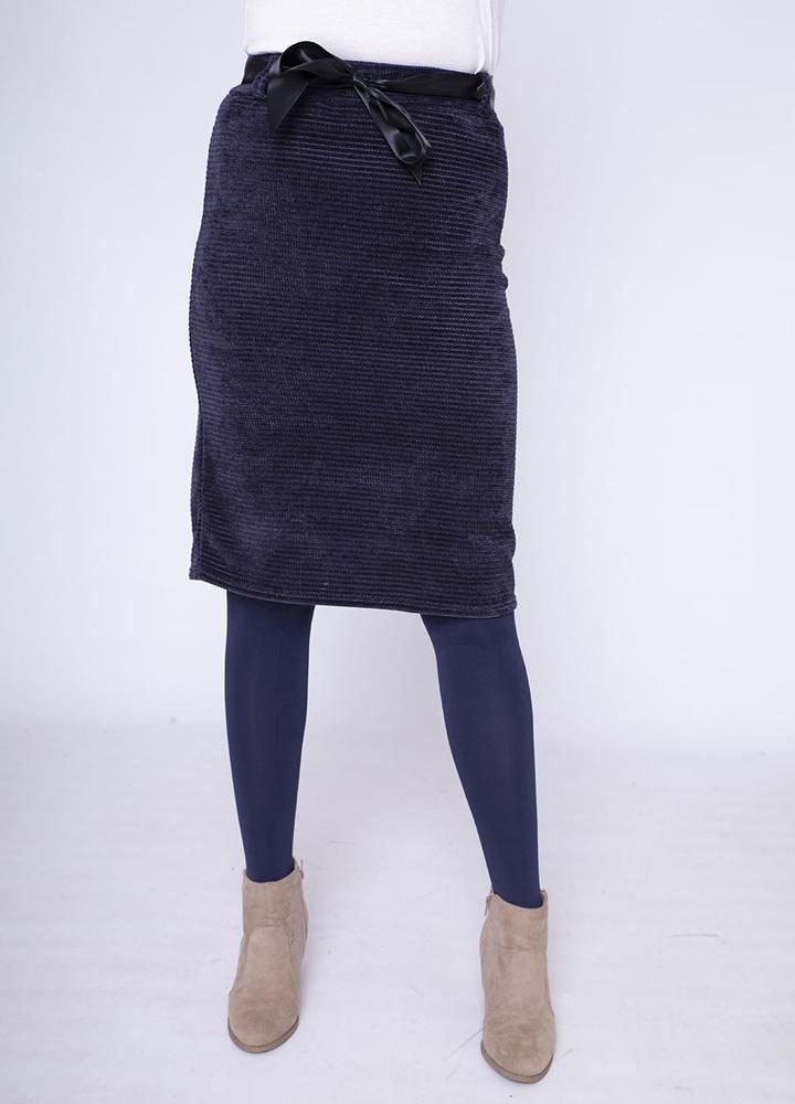 Velour Pencil Skirt in Navy
