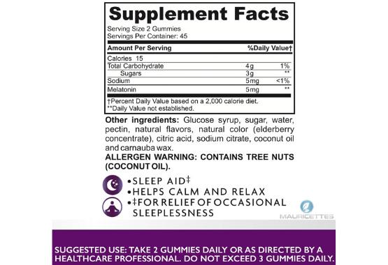 Melatonin 5 mg Gummies Ingredients