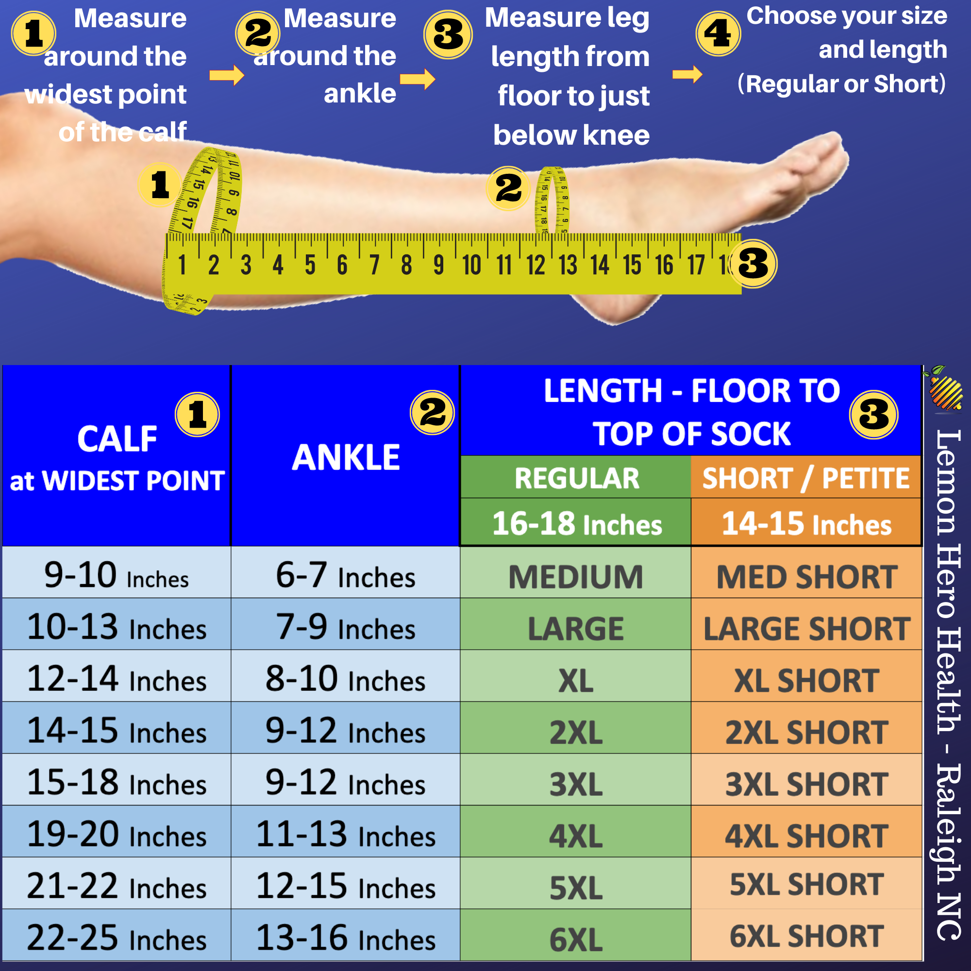 How To Measure & Find The Right Size of Zippered Compression Socks