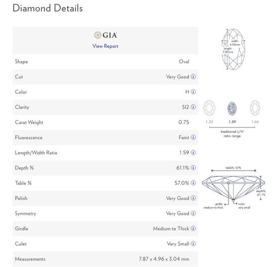 Blue Nile Diamond Details report example