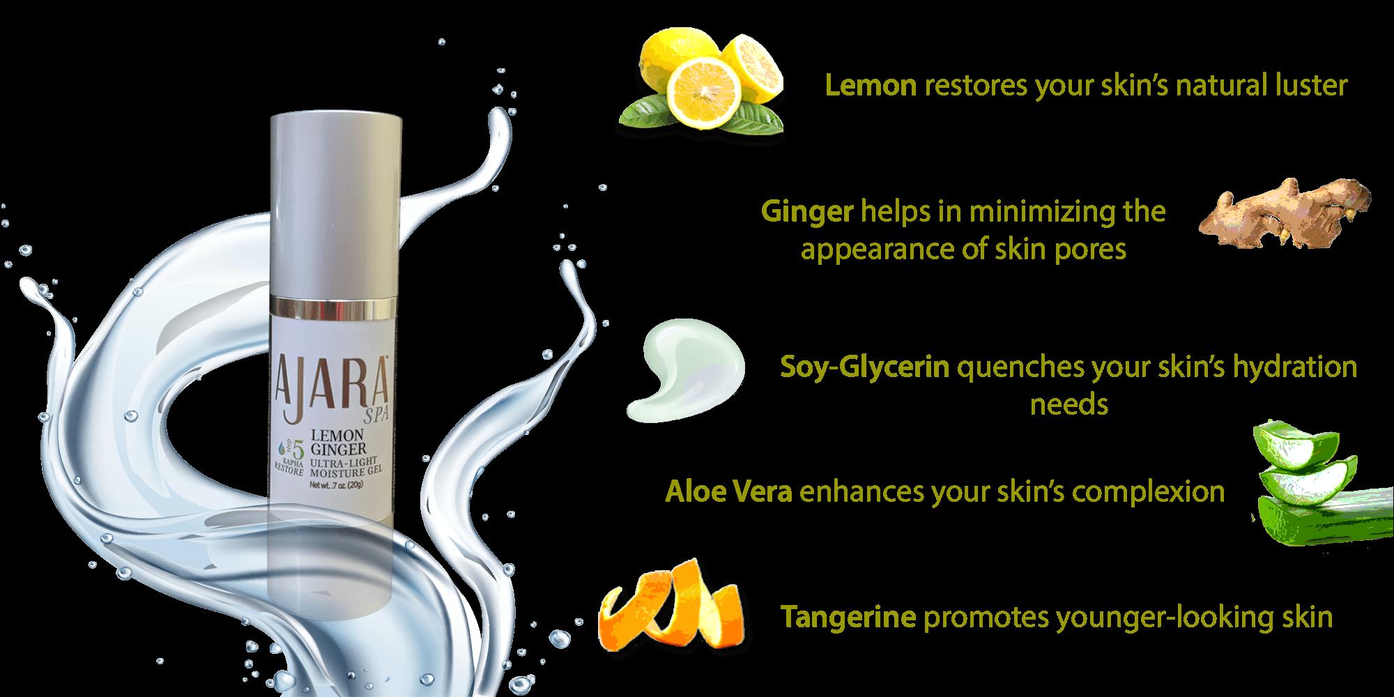 Pure, Natural ingredients in Lemon Ginger Ultra-Light Moisture Gel