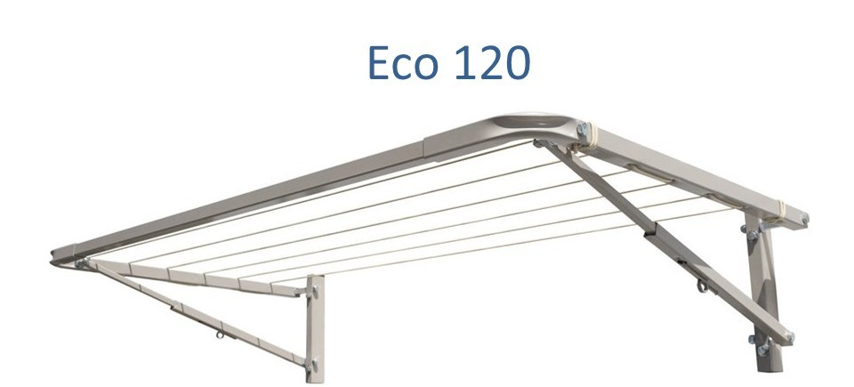 eco 120 clothesline at 110cm wide and multiple depths installed onto brick wall