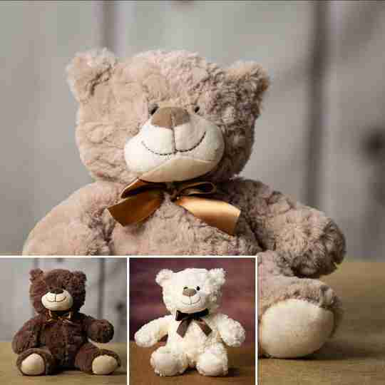 3 natural colored bears with ribbons around their neck