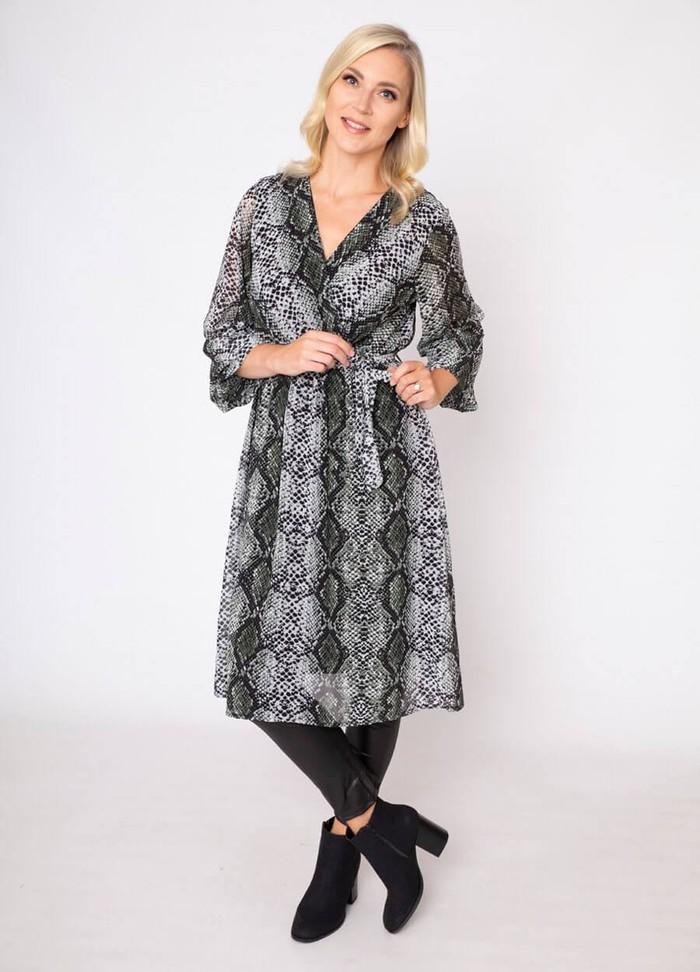 Snake Print Wrap Midi Dress
