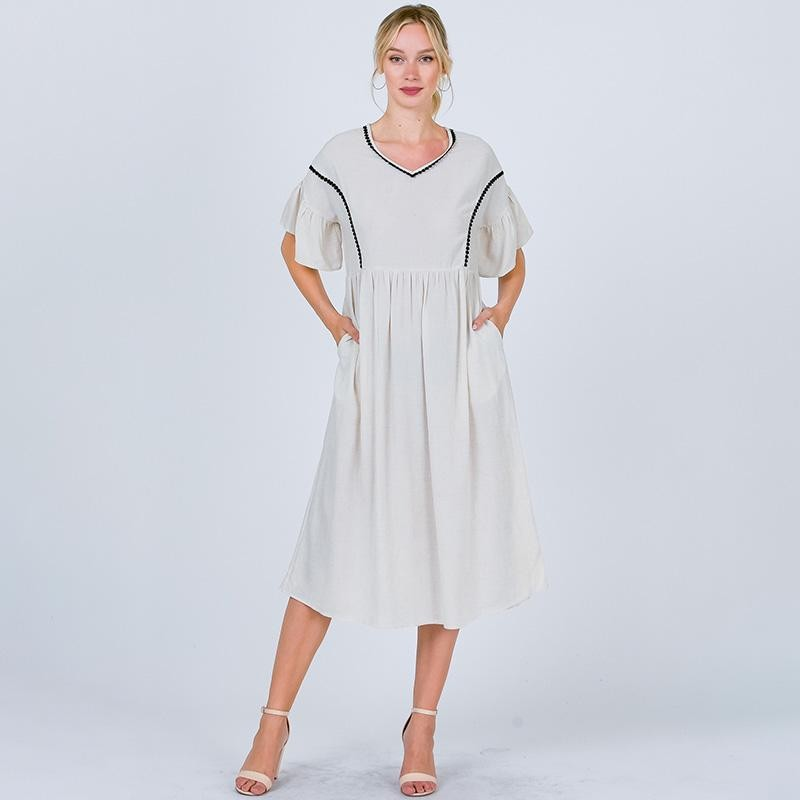Mia Ruffle Sleeve Midi Dress Oatmeal