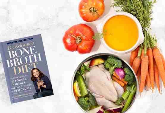 Bone Broth Diet Book with a pot of bone broth