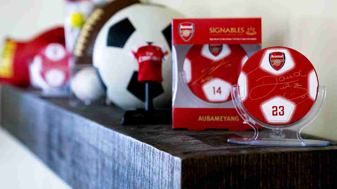 Arsenal F.C. signables collectible displayed