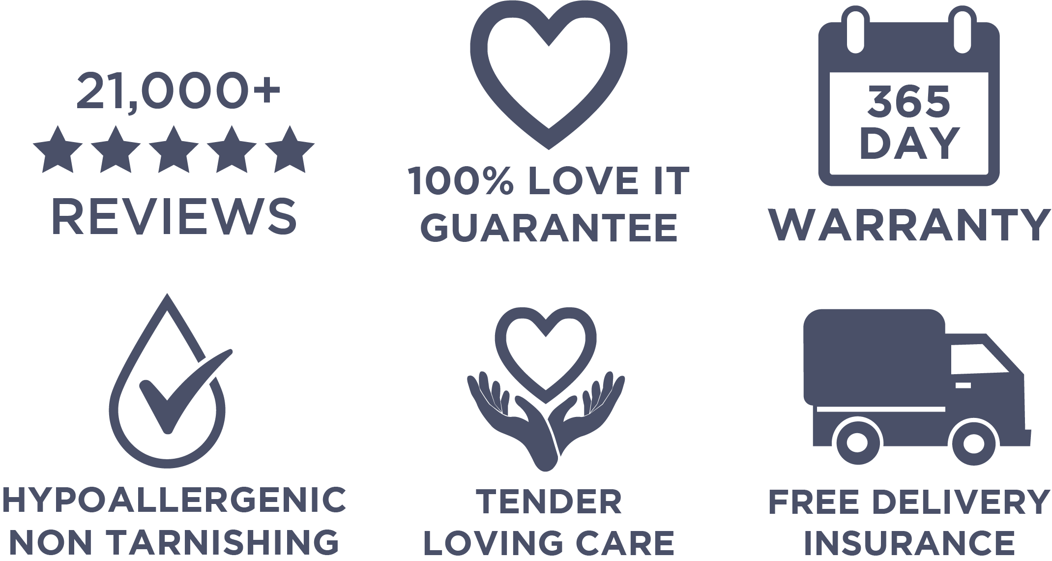 100% Love it guarantee, 365 Days warranty, Hypo allergenic, Tender Loving Care, Free Delivery Insurance