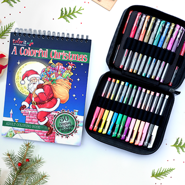 Christmas book and 48 gel pens