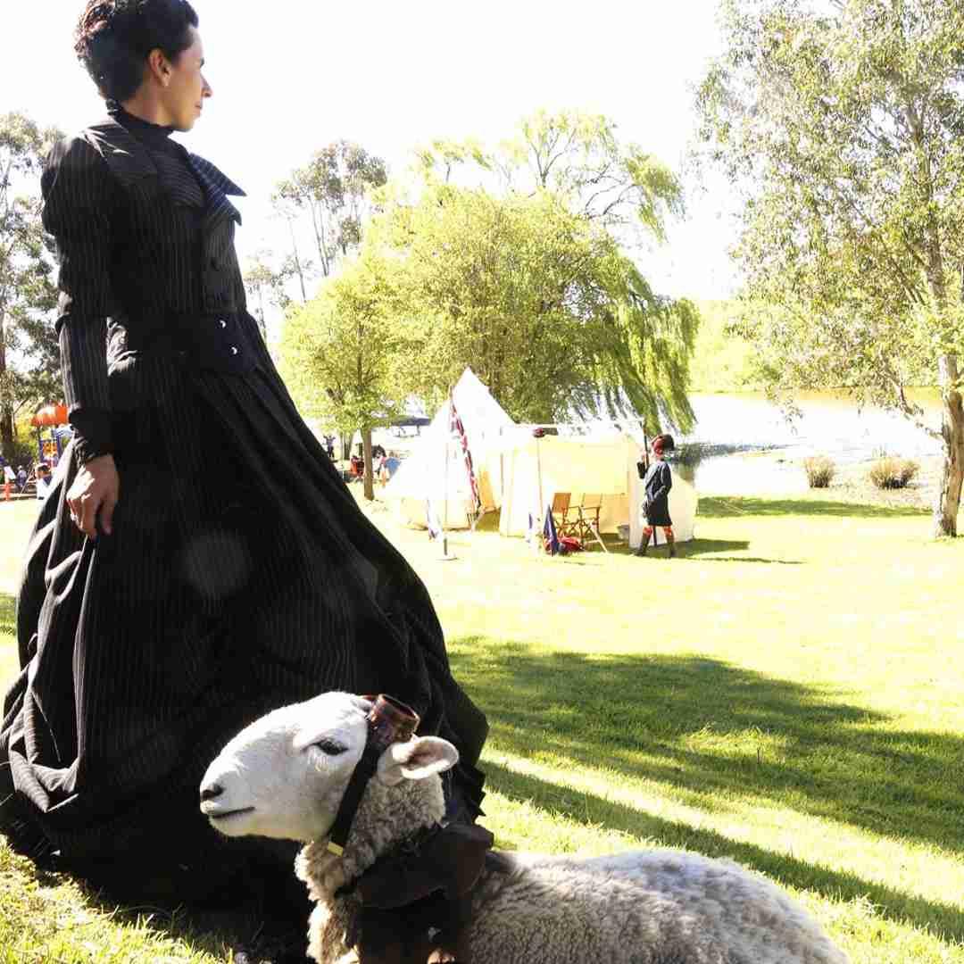 Tas O'Brien and Pete the steampunk sheep at Goulburn Steampunk and Victoriana Fair
