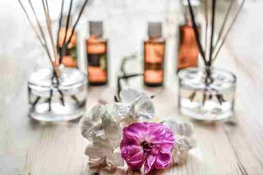 Aromatherapy supplies with flowers