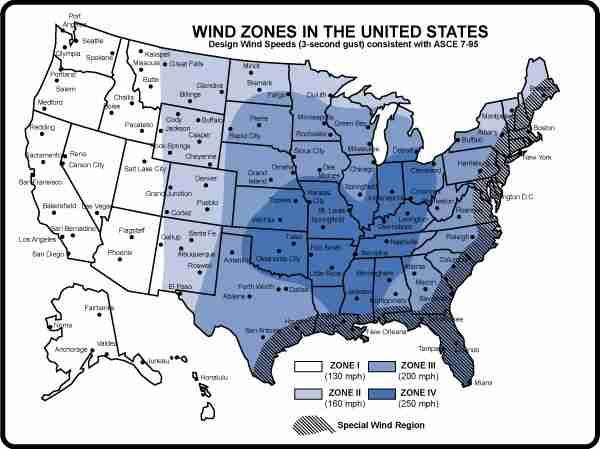 Wind Zones in the US
