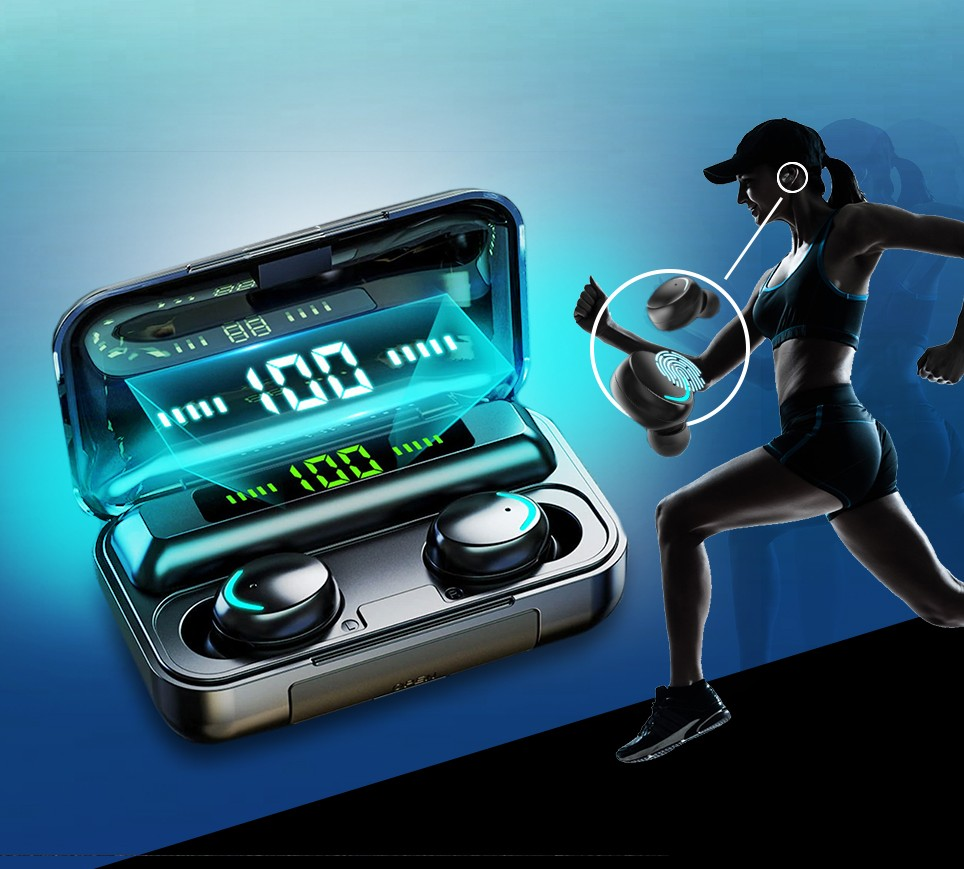 Touch Control Waterproof Bluetooth Earbuds With Charging Case (For IOS & Android)