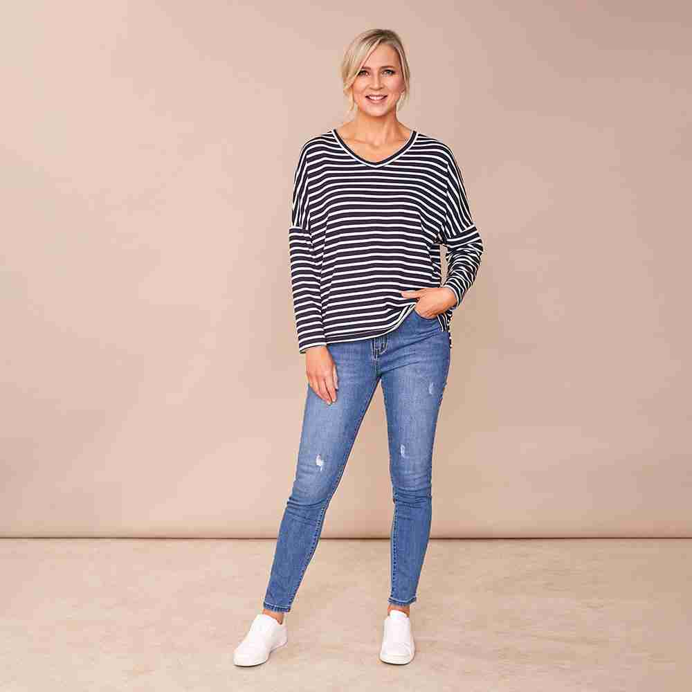 Amy V Neck Stripe Top (Navy)