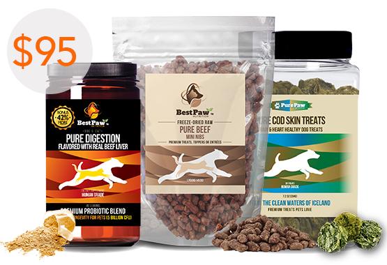 Pure Digestion Probiotics Cod Skin Fish Treats Raw Beef Mini Nibs