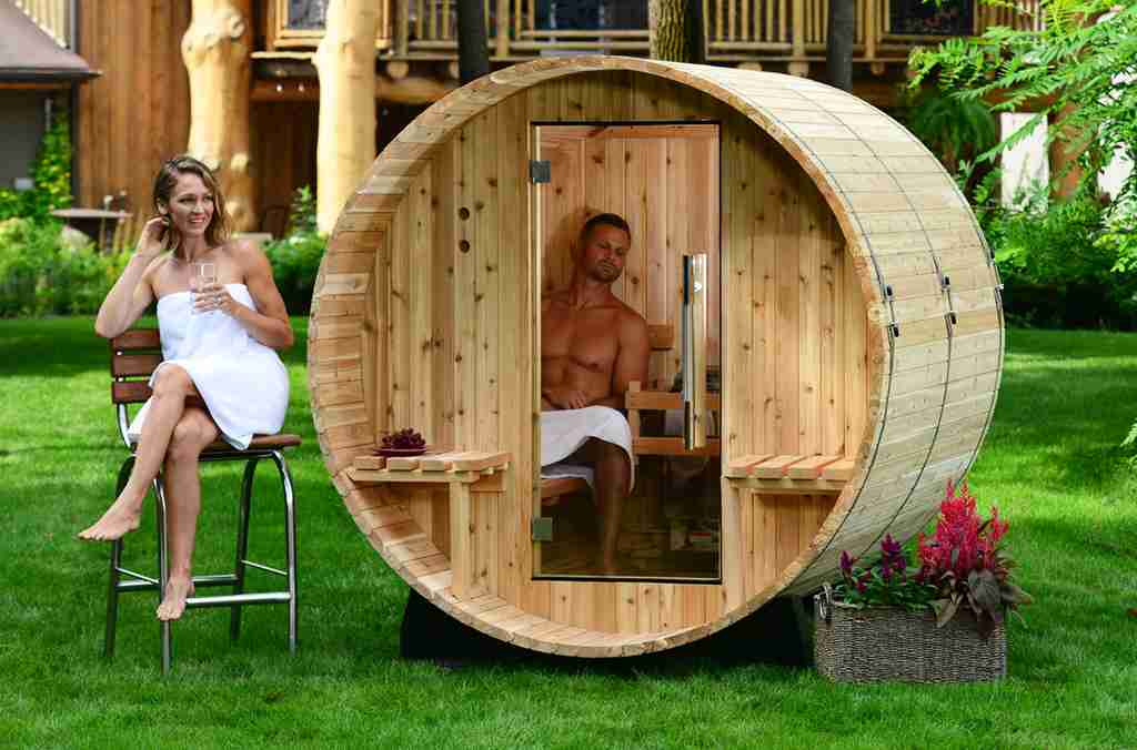 Authentic sauna feels in an Audra Canopy Barrel Sauna