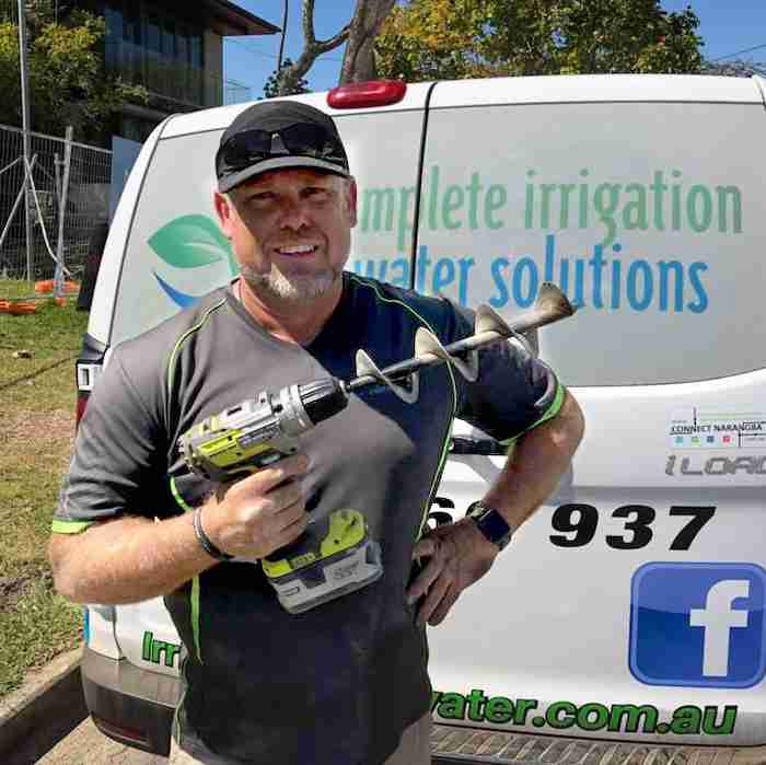 Andrew O'brien from Complete Irrigation and Water Solutions uses the Power Planter 324H for irrigation installation
