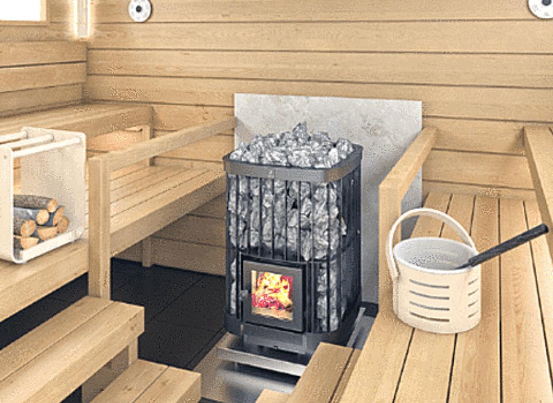 Wood Burning Heater in a Sauna