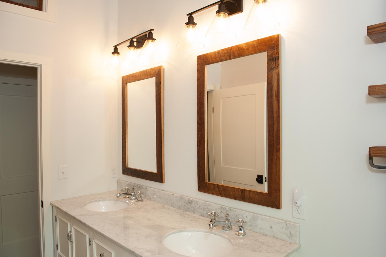 reclaimed wood mirrors in bathroom