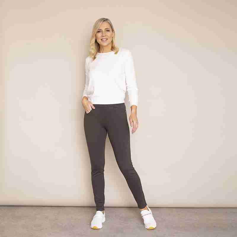 Ann Stretch Waist Trousers(Khaki-Dark)