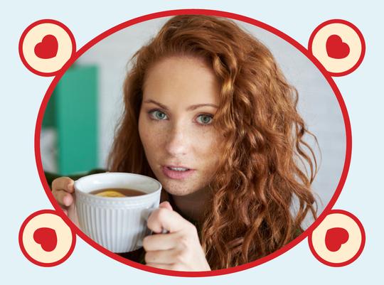 rooibos tea red head drinking tea