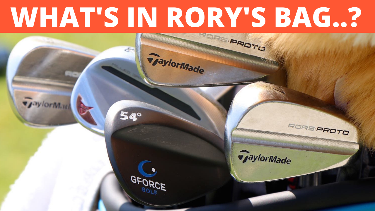 Image of Rory McIlroy's golf bag which includes the Gforce Wedge and GForce 7 iron training aids. His other taylormade golf clubs can be seen within the bag and his famous driver teddy bear cover swing in 3d imaging which is being analysed